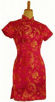 チャイナドレス半袖ショート赤ピンク地金大花:フアッション,中国商品市場,中国貿易,中国企業情報