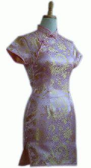 チャイナドレス半袖ショートピンク地金大花:フアッション,中国商品市場,中国貿易,中国企業情報