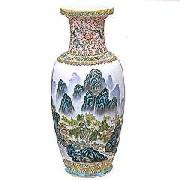 景徳鎮花瓶(紅西蓮山水)大:インテリア,中国商品市場,中国貿易,中国企業情報