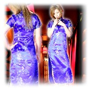 龍柄刺繍 チャイナドレス ロングタイプ ブルー :フアッション,中国商品市場,中国貿易,中国企業情報
