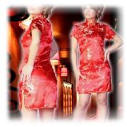 梅柄刺繍 チャイナドレス ショートタイプ レッド:フアッション,中国商品市場,中国貿易,中国企業情報